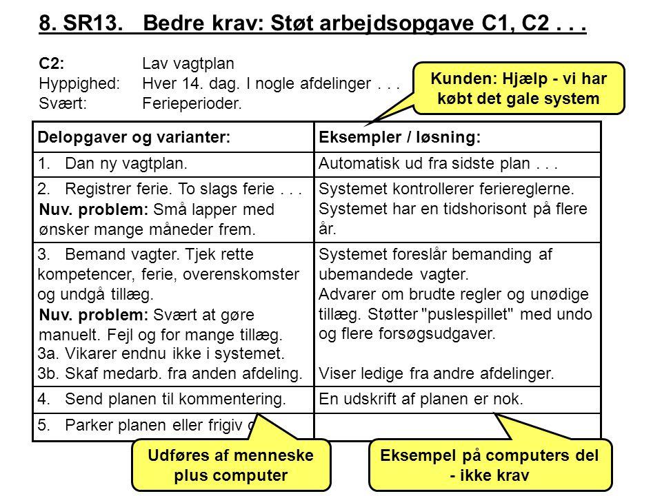 8. SR13. Bedre krav: Støt arbejdsopgave C1, C2 . . .