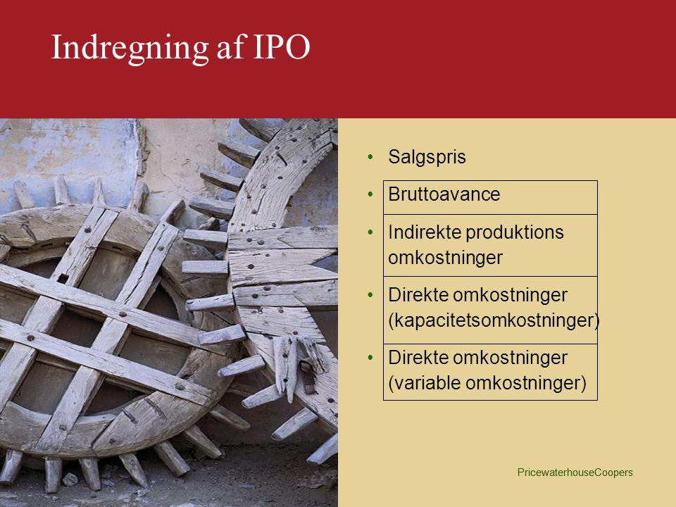 Indregning af IPO Salgspris Bruttoavance