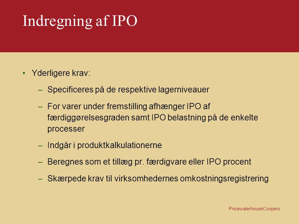 Indregning af IPO Yderligere krav: