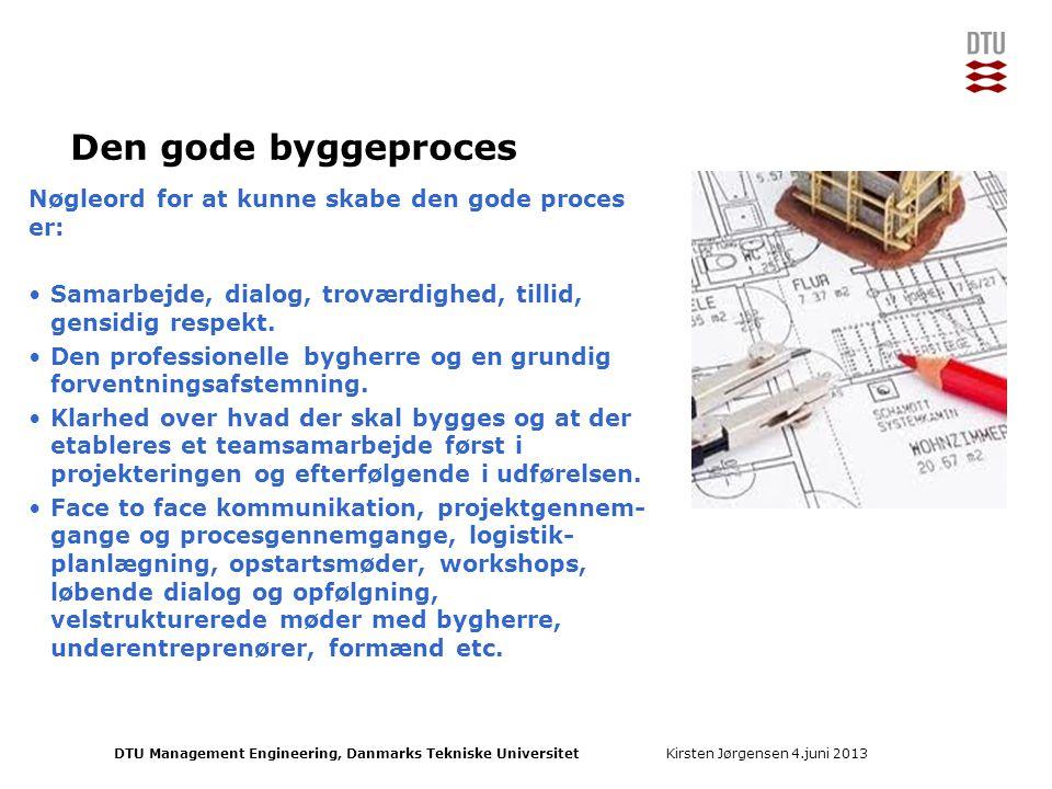 Den gode byggeproces Nøgleord for at kunne skabe den gode proces er: