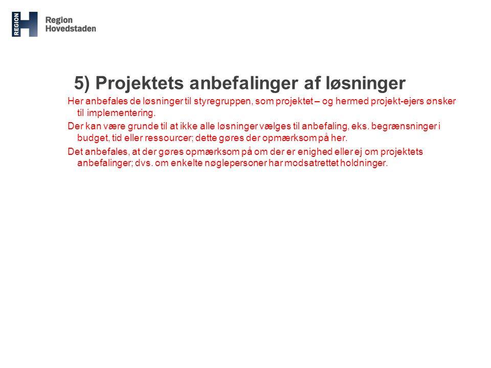 5) Projektets anbefalinger af løsninger