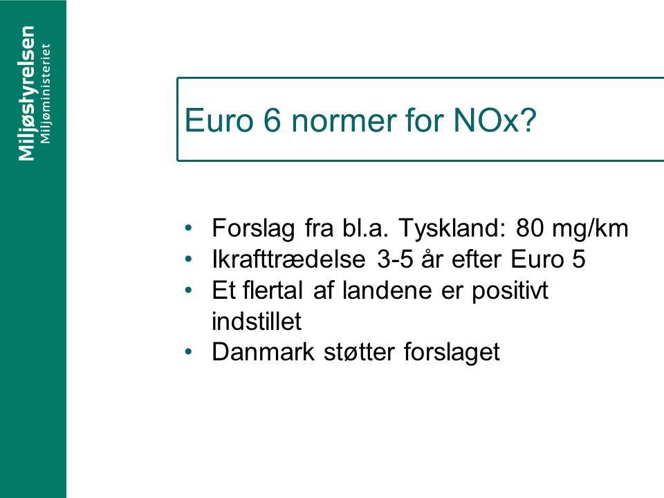 Euro 6 normer for NOx Forslag fra bl.a. Tyskland: 80 mg/km