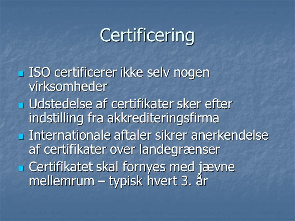 Certificering ISO certificerer ikke selv nogen virksomheder