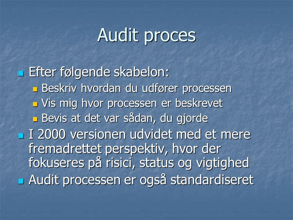 Audit proces Efter følgende skabelon: