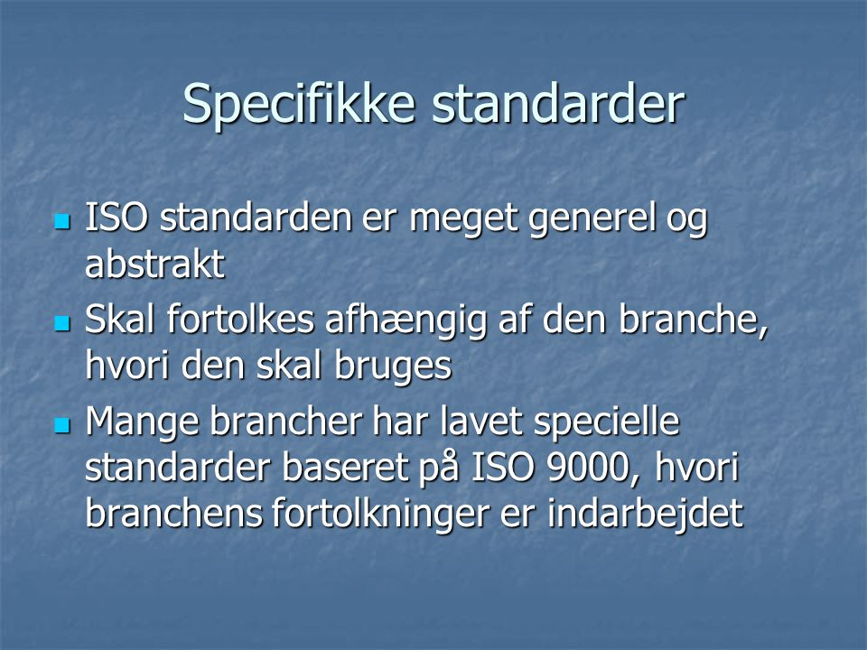 Specifikke standarder