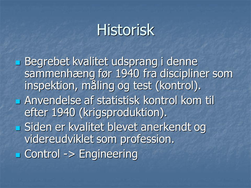 Historisk Begrebet kvalitet udsprang i denne sammenhæng før 1940 fra discipliner som inspektion, måling og test (kontrol).