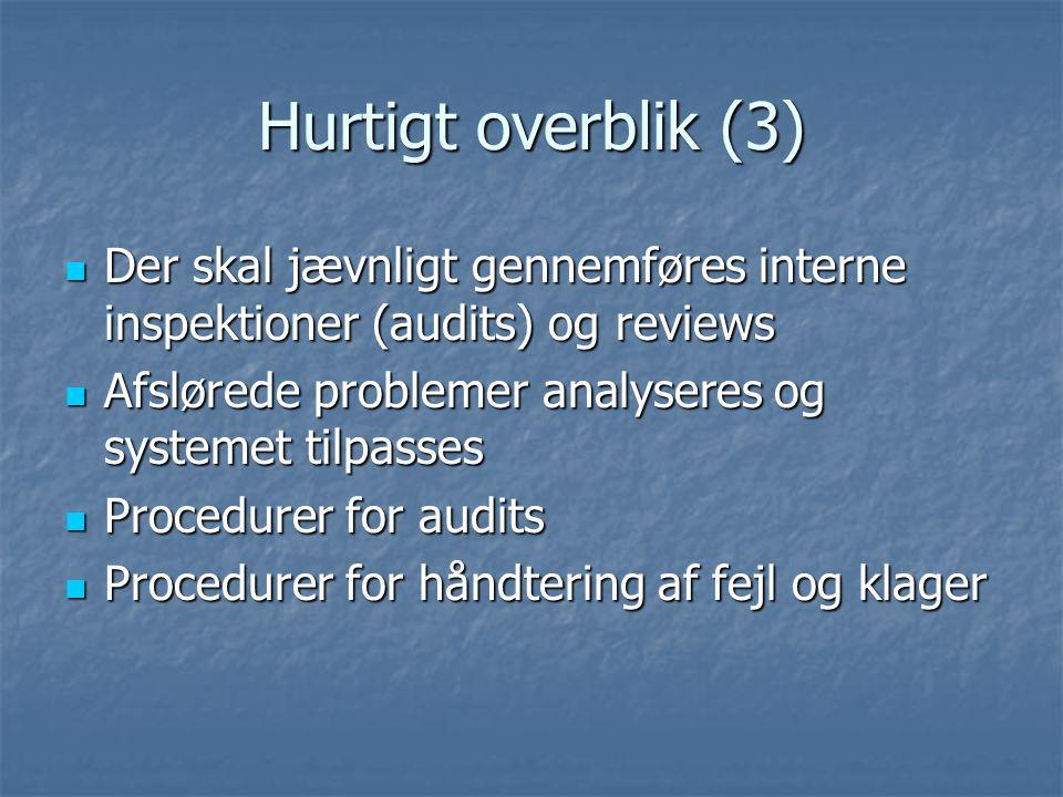 Hurtigt overblik (3) Der skal jævnligt gennemføres interne inspektioner (audits) og reviews. Afslørede problemer analyseres og systemet tilpasses.