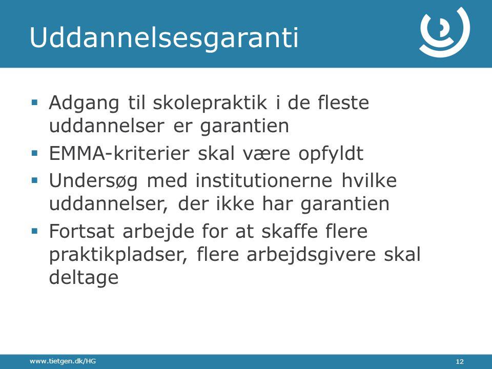 Uddannelsesgaranti Adgang til skolepraktik i de fleste uddannelser er garantien. EMMA-kriterier skal være opfyldt.