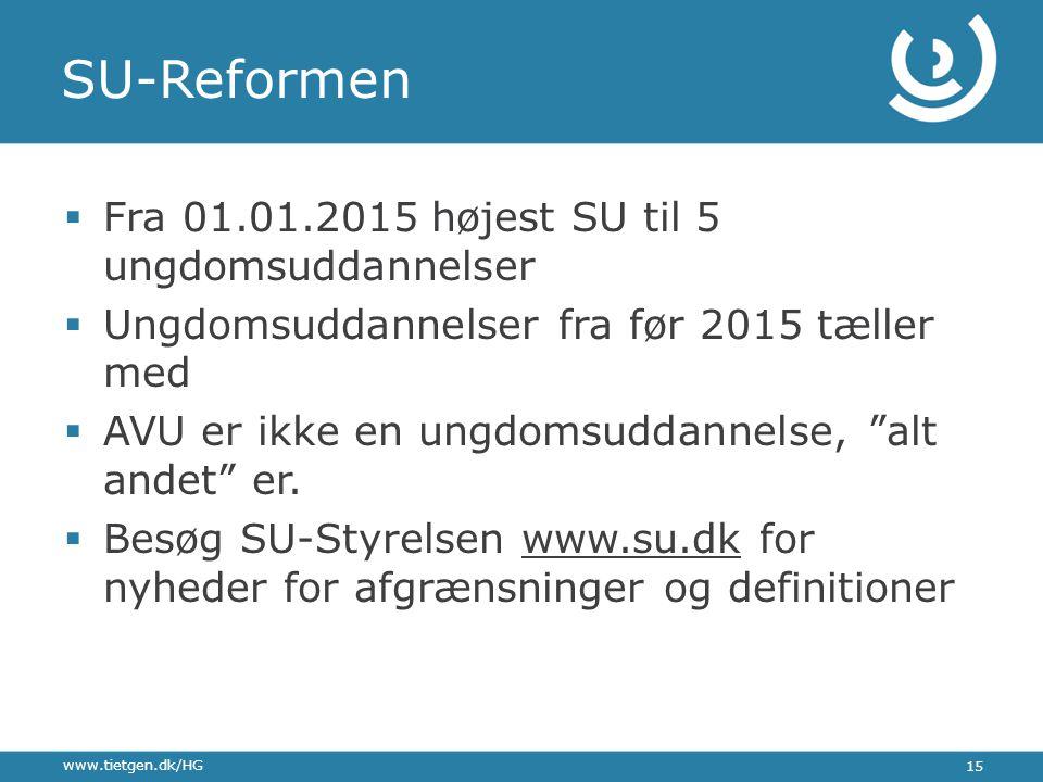 SU-Reformen Fra 01.01.2015 højest SU til 5 ungdomsuddannelser