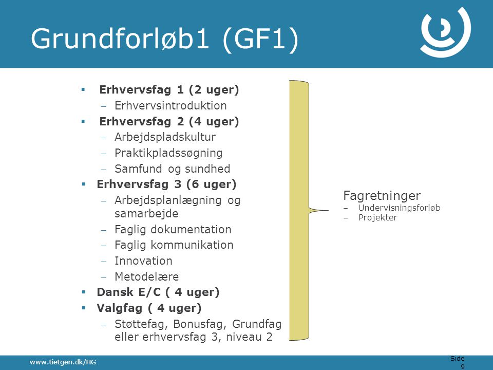 Grundforløb1 (GF1) Fagretninger Erhvervsfag 1 (2 uger)