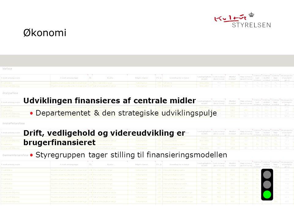 Økonomi Udviklingen finansieres af centrale midler