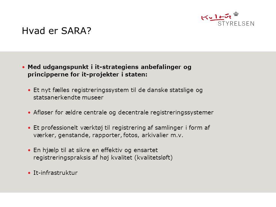Hvad er SARA Med udgangspunkt i it-strategiens anbefalinger og principperne for it-projekter i staten: