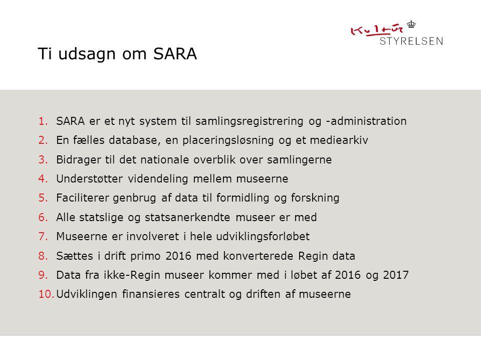 Ti udsagn om SARA SARA er et nyt system til samlingsregistrering og -administration. En fælles database, en placeringsløsning og et mediearkiv.