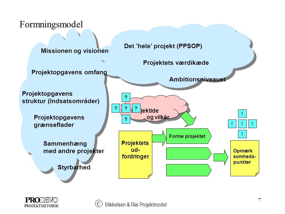 Formningsmodel Det 'hele' projekt (PPSOP) Missionen og visionen