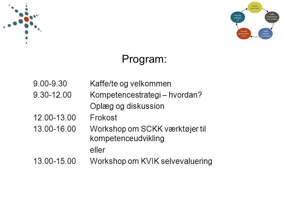 Program: 9.00-9.30 Kaffe/te og velkommen
