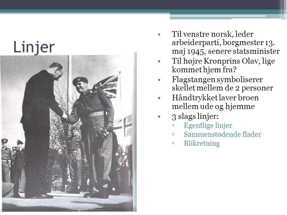 Linjer Til venstre norsk, leder arbeiderparti, borgmester 13. maj 1945, senere statsminister. Til højre Kronprins Olav, lige kommet hjem fra