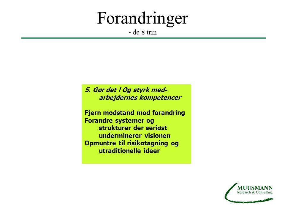 Forandringer - de 8 trin 5. Gør det ! Og styrk med-arbejdernes kompetencer. Fjern modstand mod forandring.