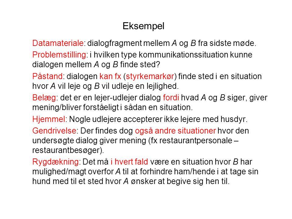 Eksempel Datamateriale: dialogfragment mellem A og B fra sidste møde.