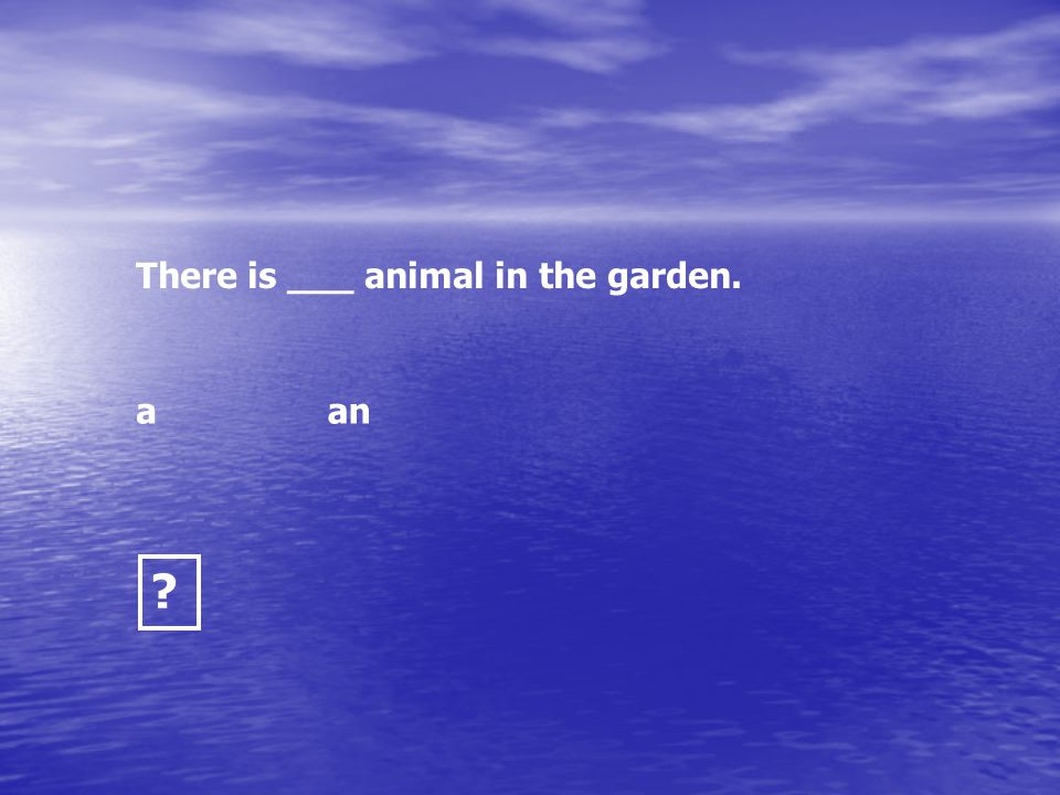 There is ___ animal in the garden.