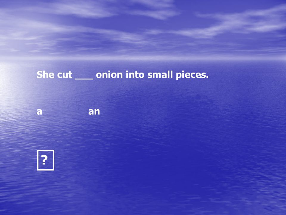 She cut ___ onion into small pieces.