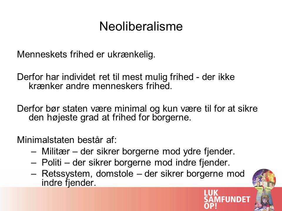 Neoliberalisme Menneskets frihed er ukrænkelig.