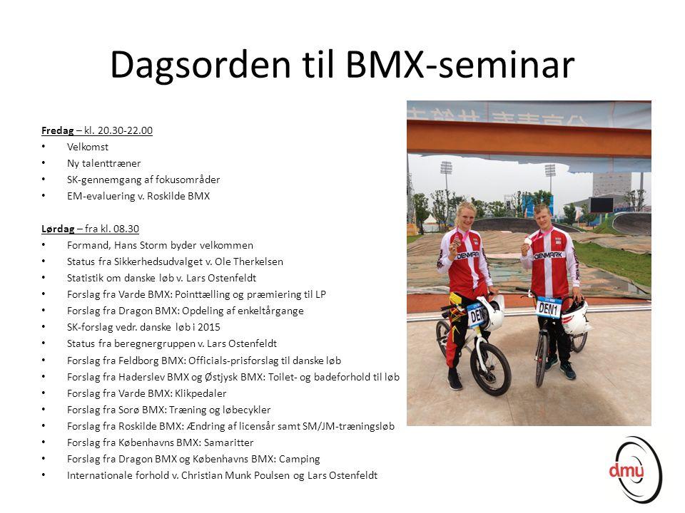Dagsorden til BMX-seminar