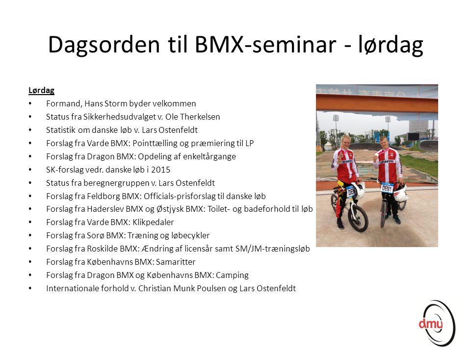 Dagsorden til BMX-seminar - lørdag