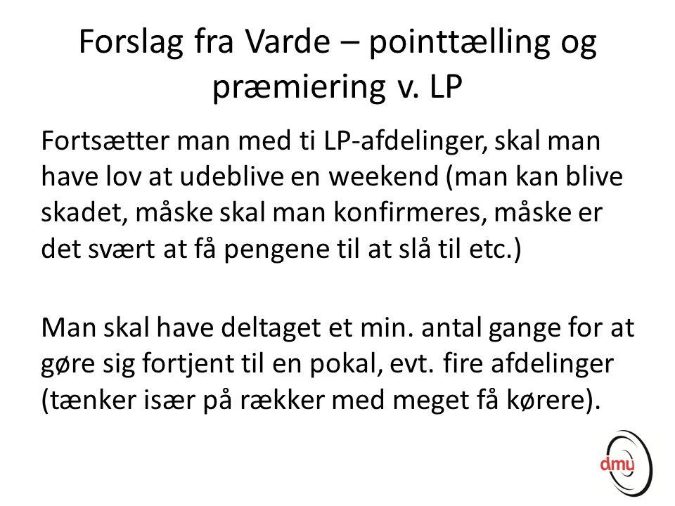 Forslag fra Varde – pointtælling og præmiering v. LP