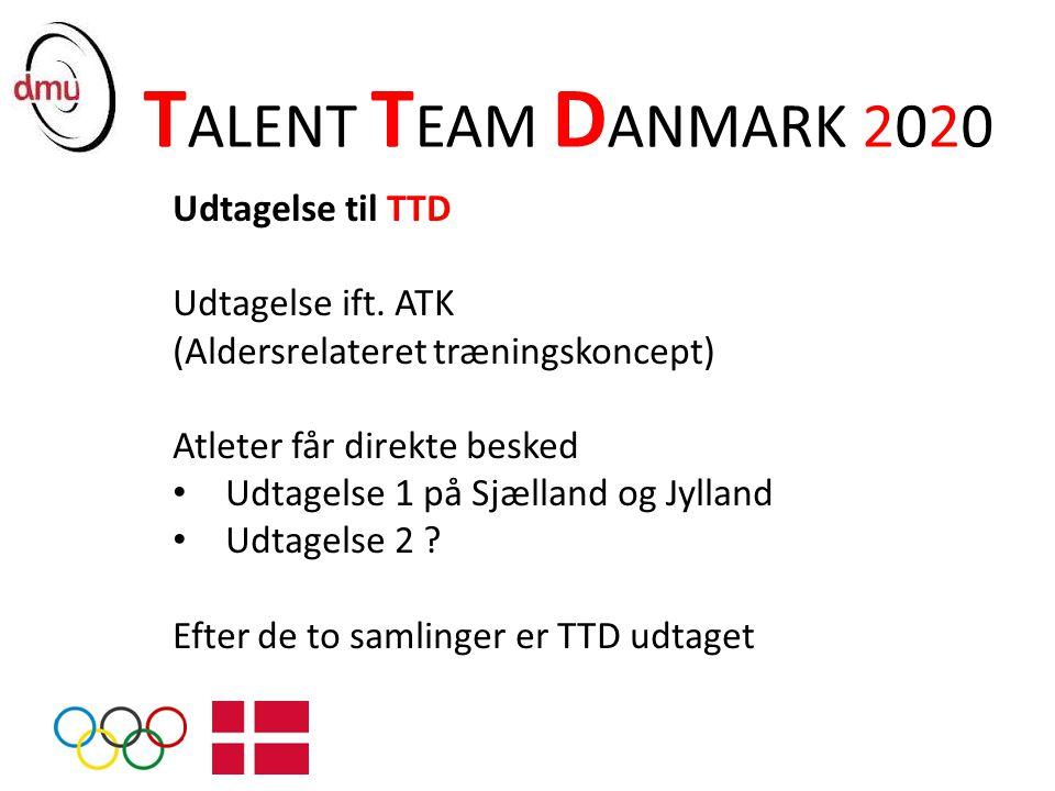 TALENT TEAM DANMARK 2020 Udtagelse til TTD Udtagelse ift. ATK