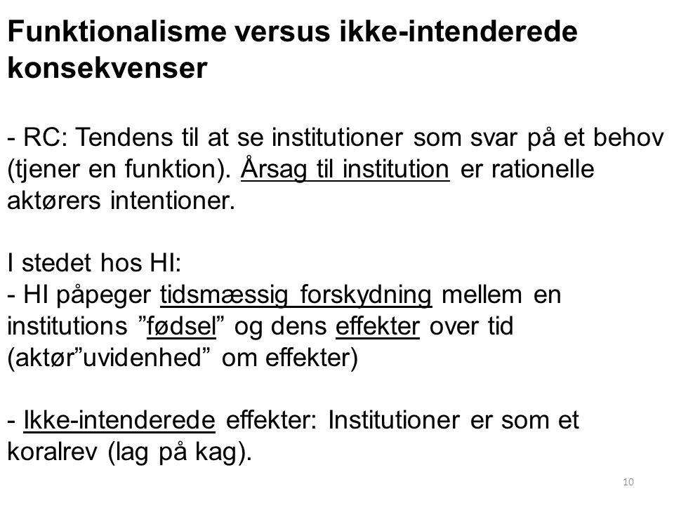 Funktionalisme versus ikke-intenderede konsekvenser