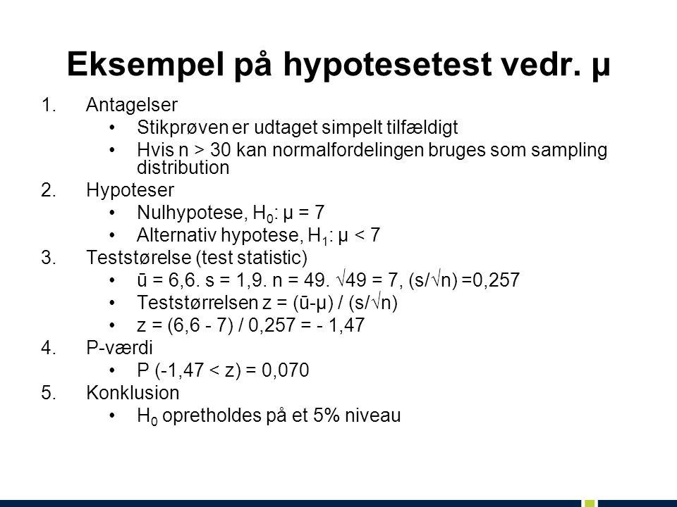 Eksempel på hypotesetest vedr. μ