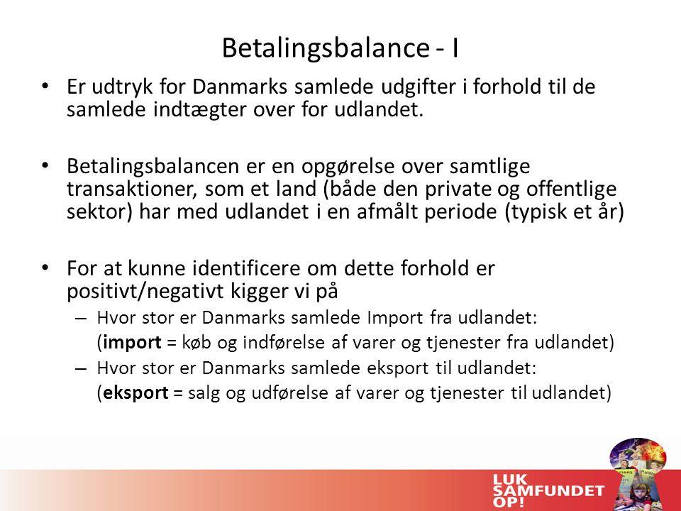 Betalingsbalance - I Er udtryk for Danmarks samlede udgifter i forhold til de samlede indtægter over for udlandet.