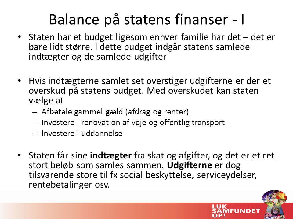 Balance på statens finanser - I