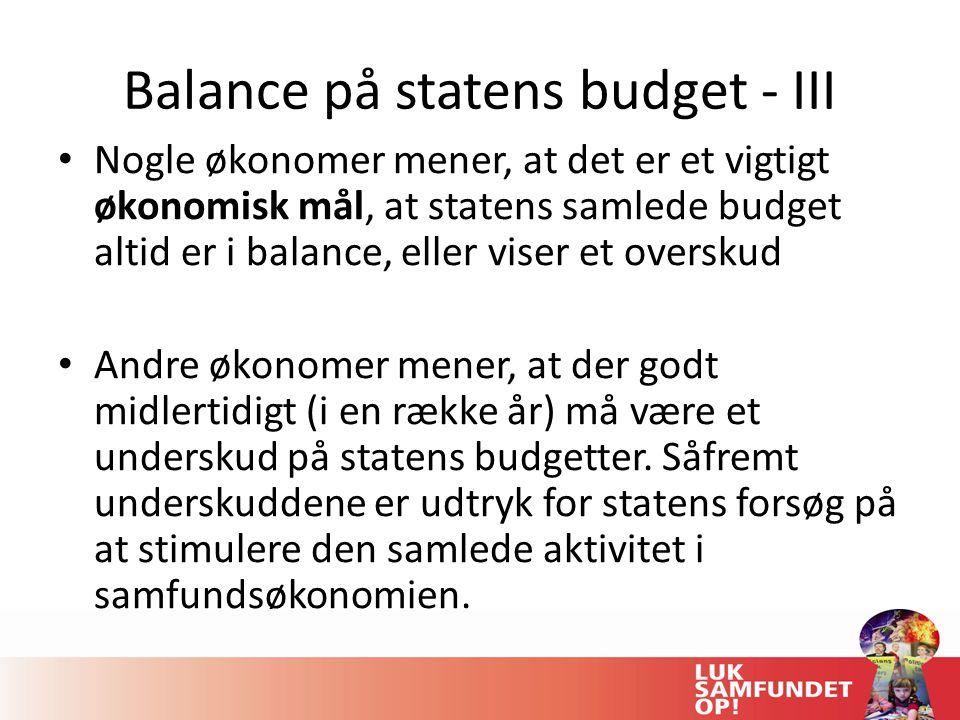 Balance på statens budget - III