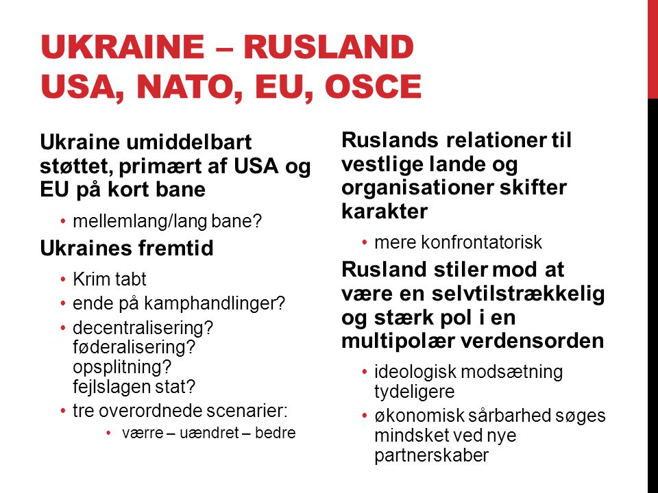 Ukraine – Rusland USA, NATO, EU, OSCE