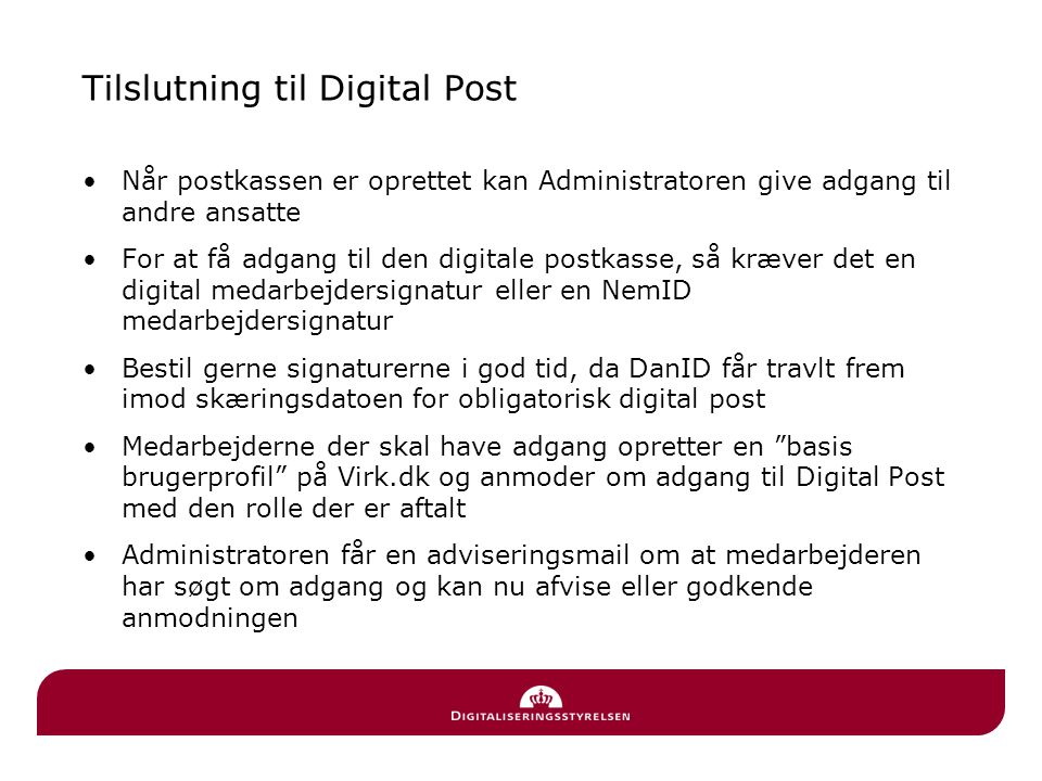 Tilslutning til Digital Post