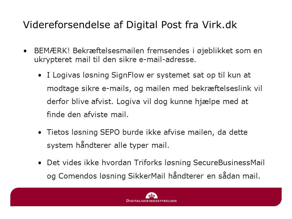 Videreforsendelse af Digital Post fra Virk.dk