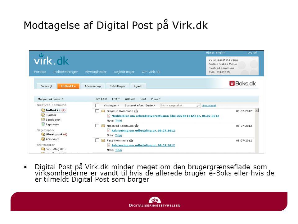 Modtagelse af Digital Post på Virk.dk