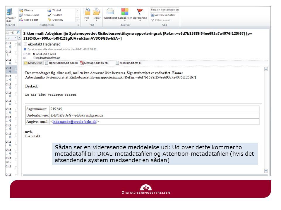 Sådan ser en videresende meddelelse ud: Ud over dette kommer to metadatafil til: DKAL-metadatafilen og Attention-metadatafilen (hvis det afsendende system medsender en sådan)