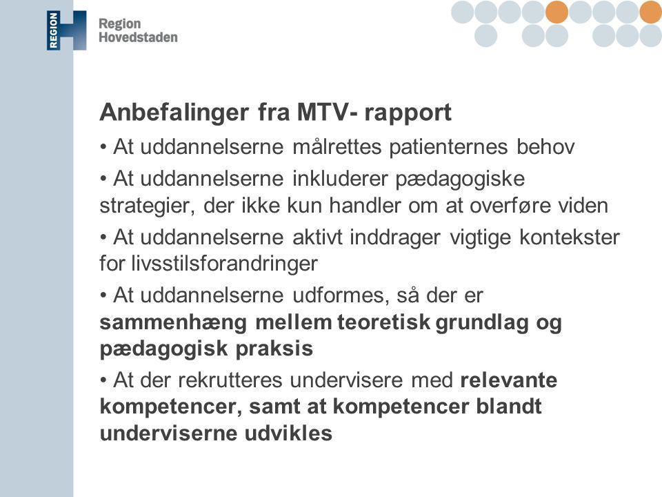 Anbefalinger fra MTV- rapport
