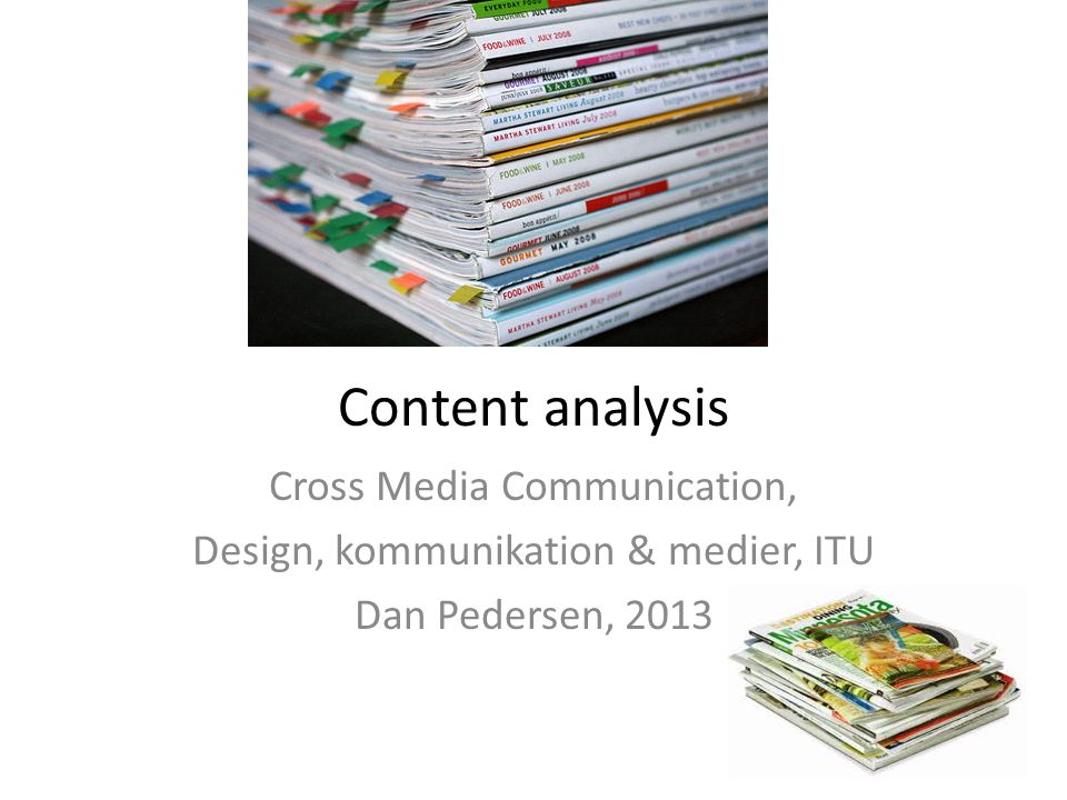 Content analysis Cross Media Communication,