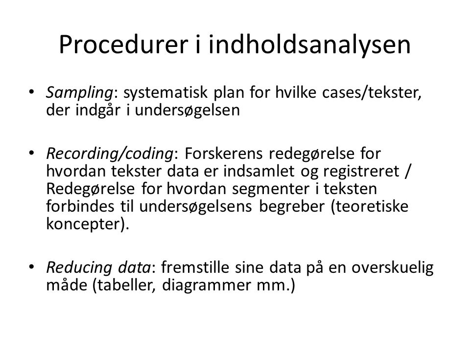 Procedurer i indholdsanalysen