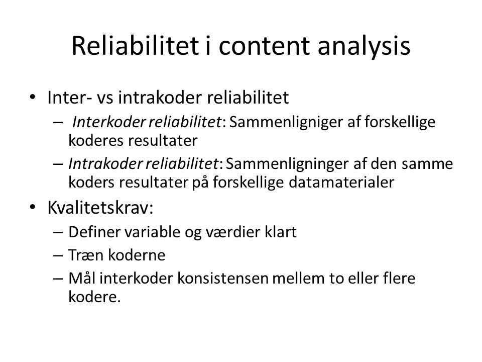 Reliabilitet i content analysis