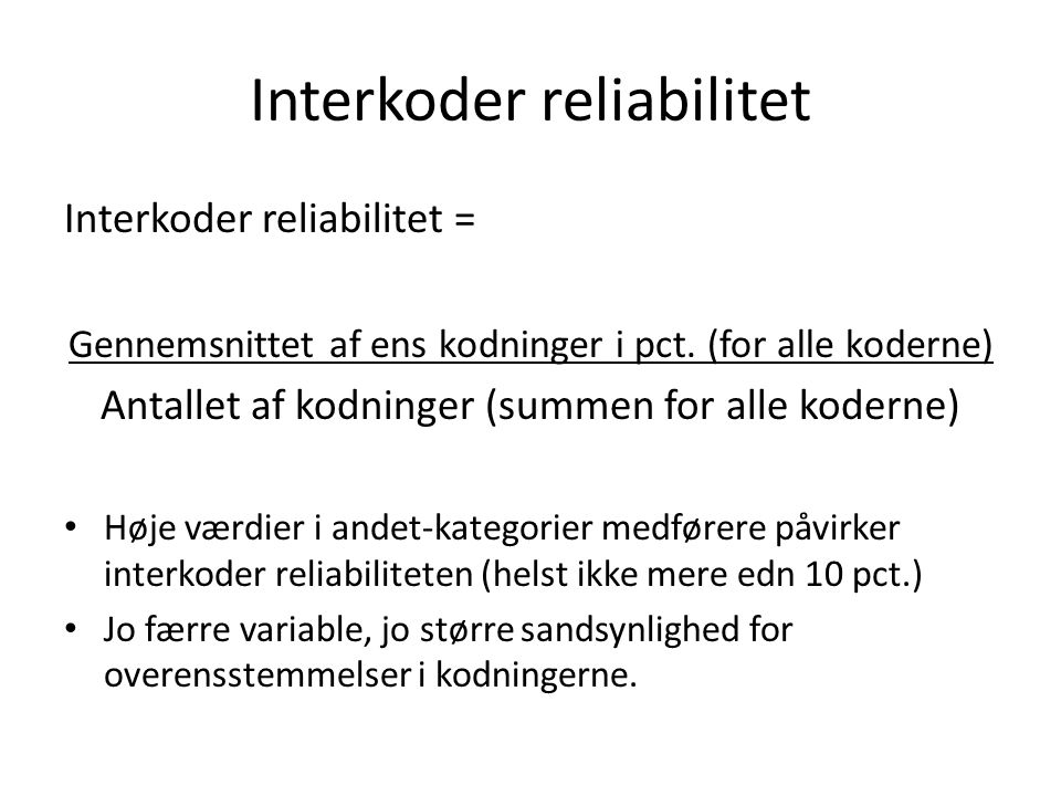 Interkoder reliabilitet