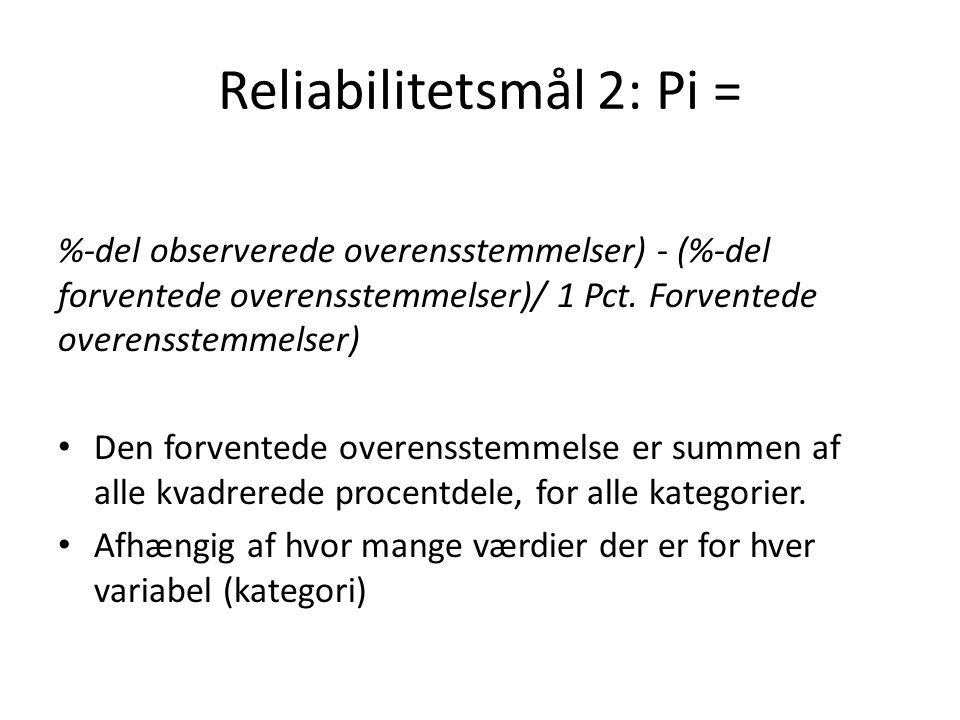 Reliabilitetsmål 2: Pi =