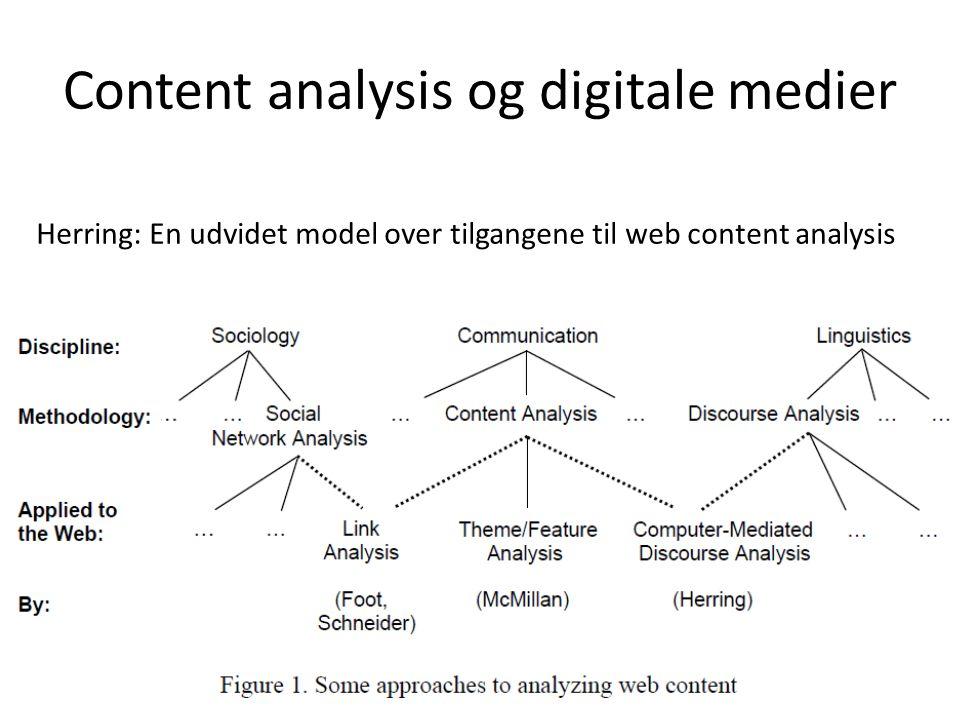 Content analysis og digitale medier