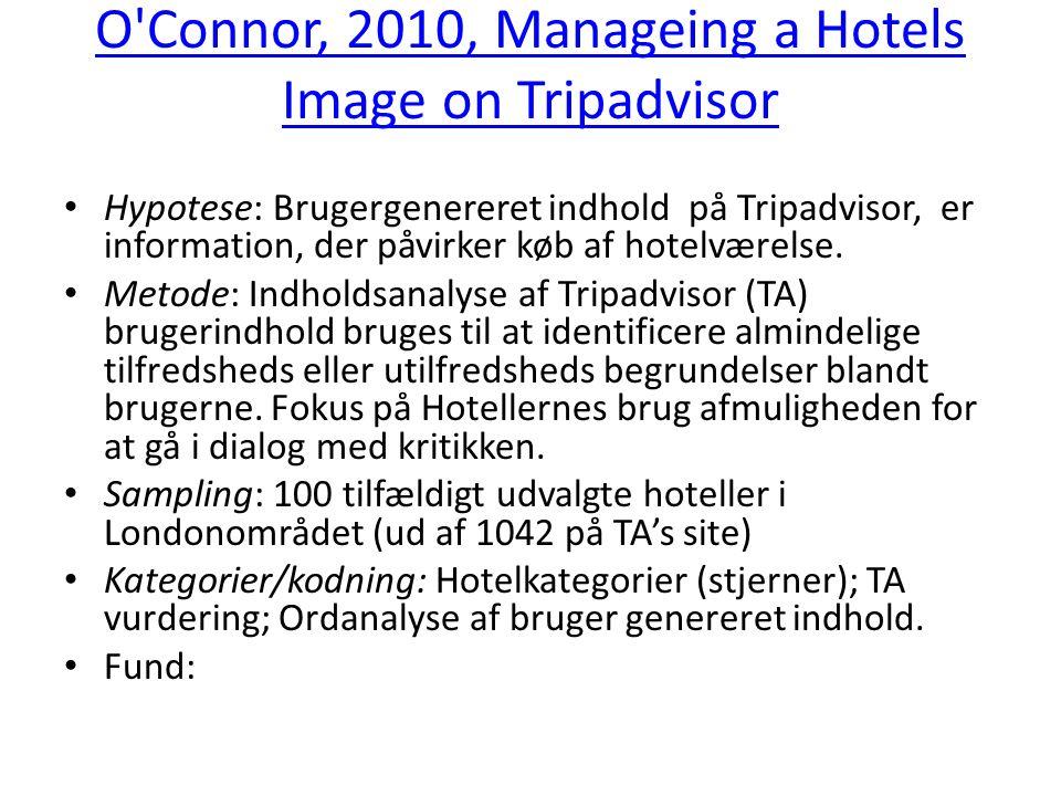 O Connor, 2010, Manageing a Hotels Image on Tripadvisor