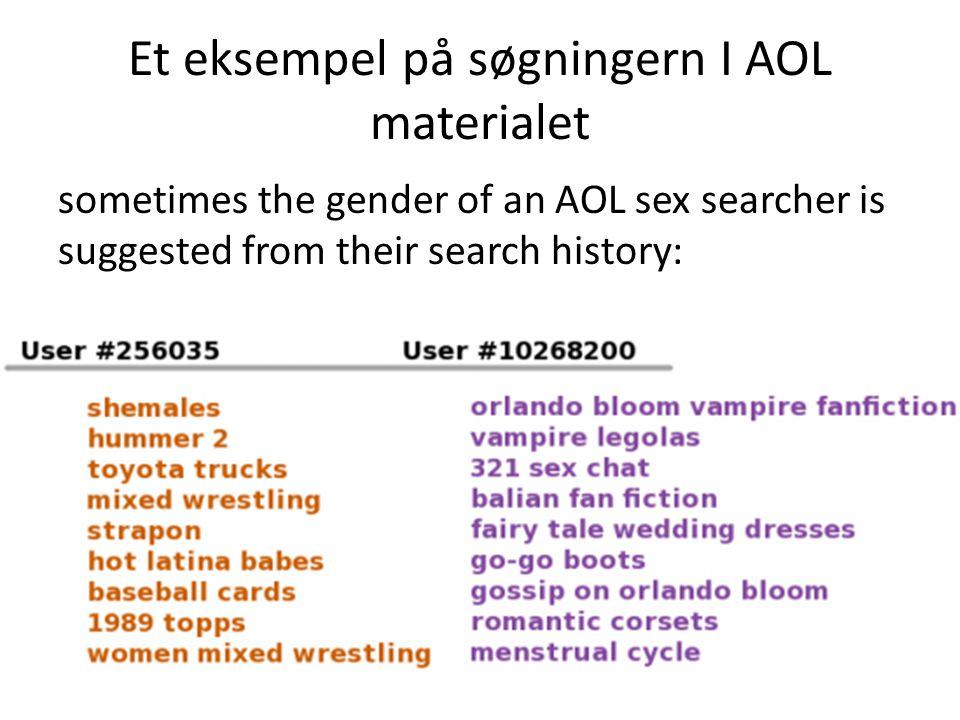Et eksempel på søgningern I AOL materialet