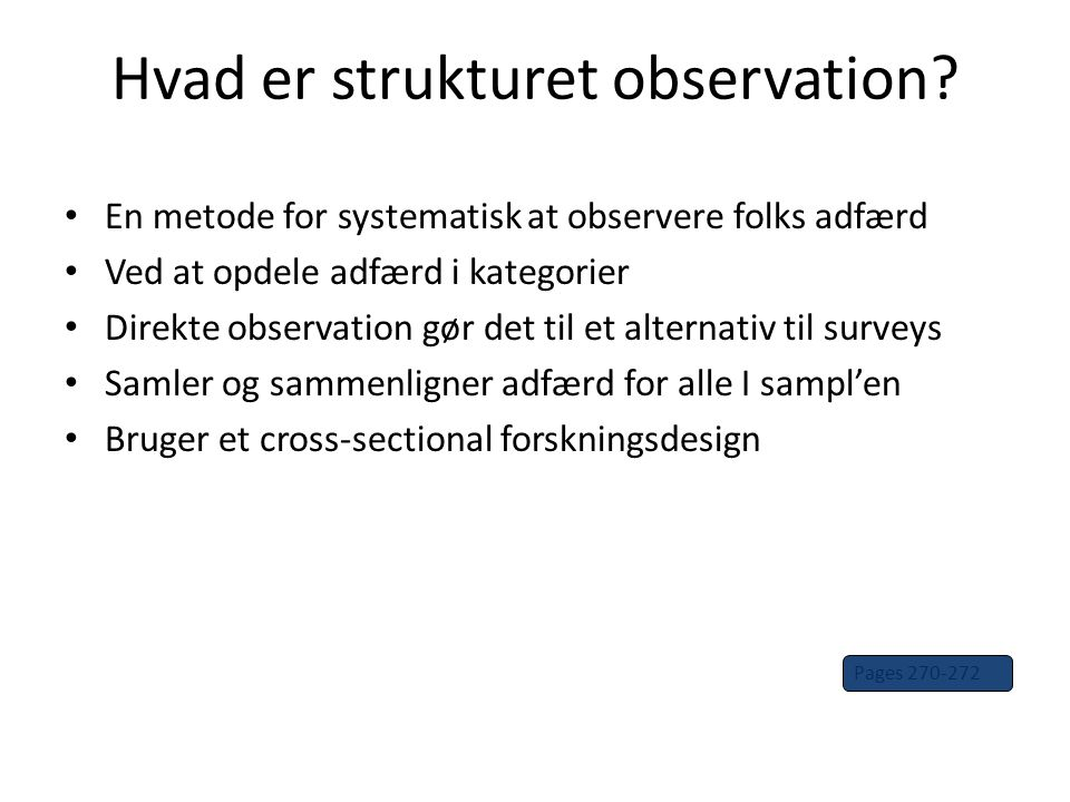 Hvad er strukturet observation