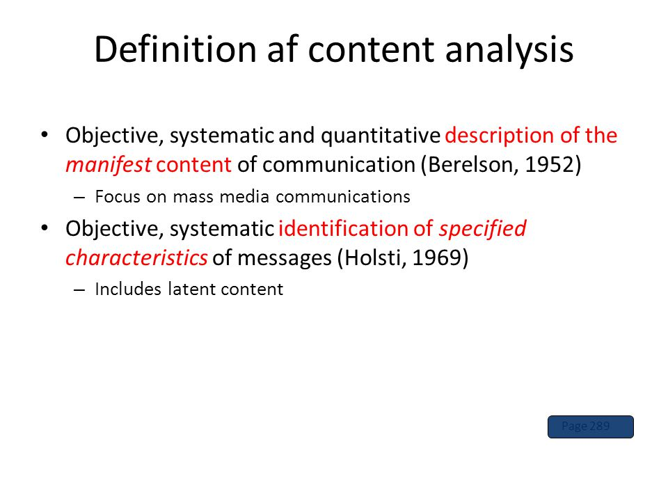 Definition af content analysis